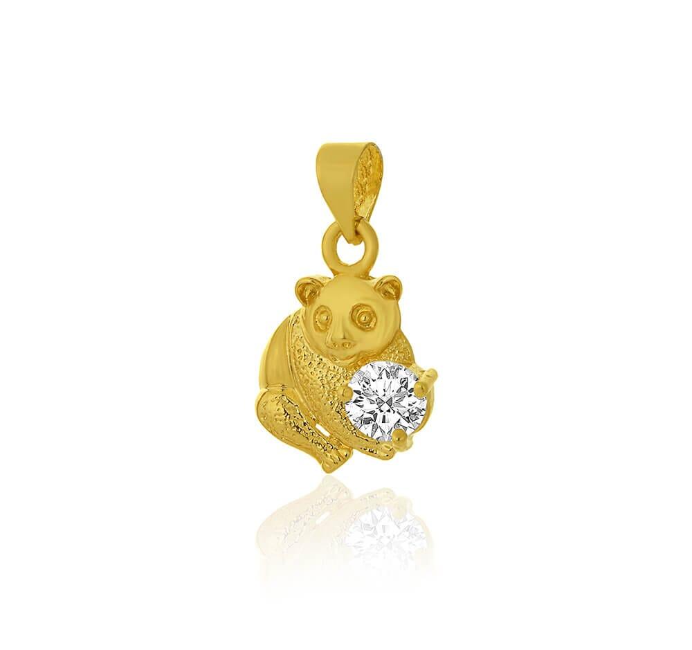 Pingente de Urso c/ pedra de zircônia Folheada a Ouro 18k