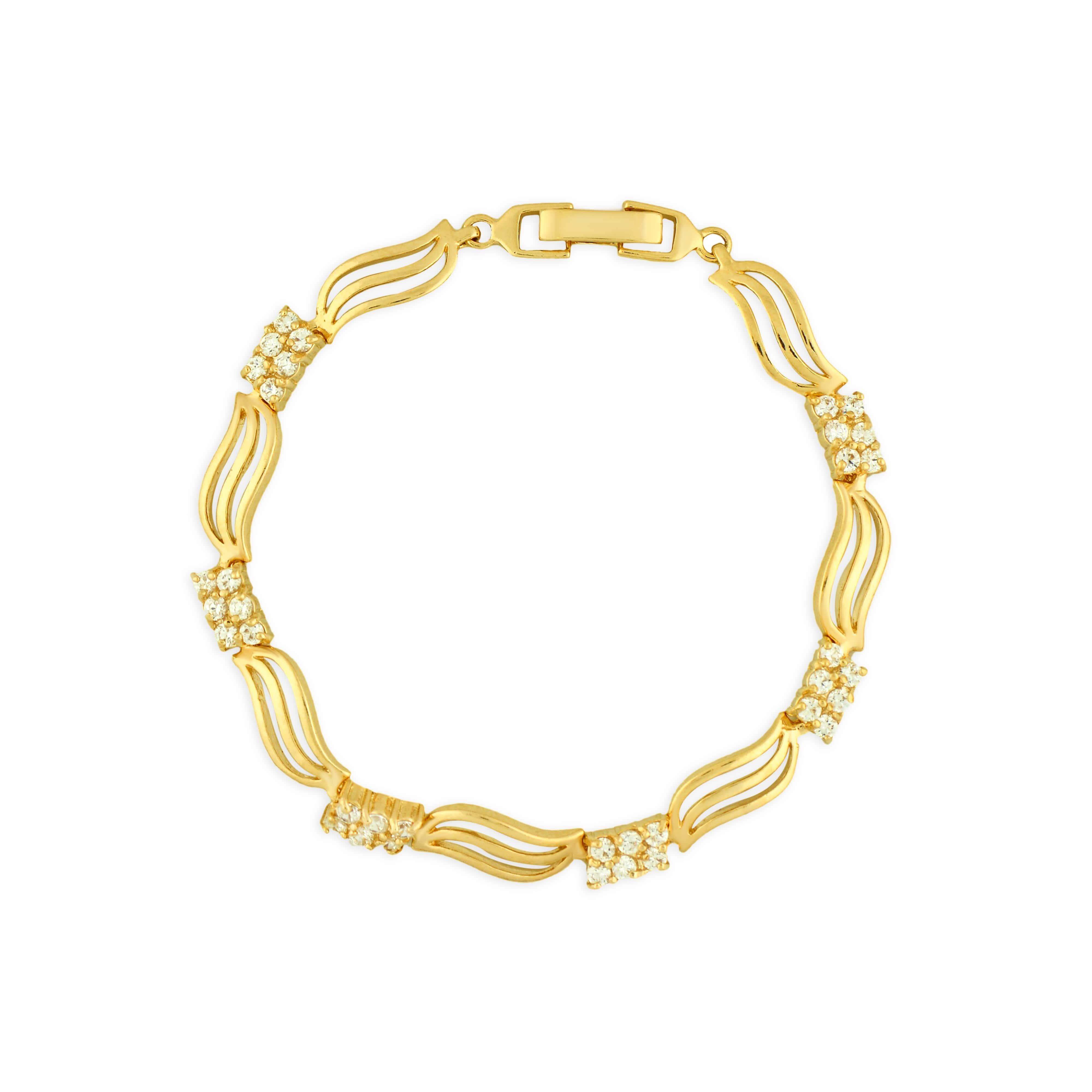 Pulseira Luxo Folheada a Ouro 18k com 66 zircônias