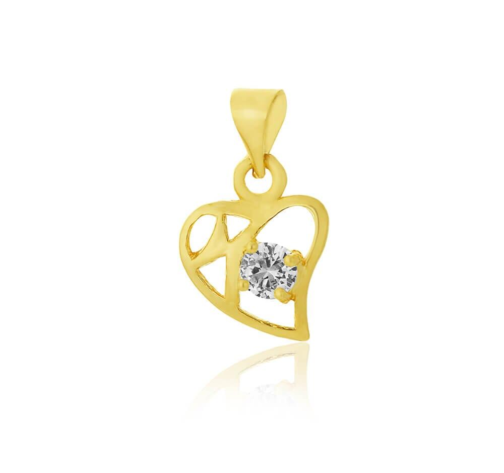 Pingente de coração vazado com zircônia Folheado a Ouro 18k