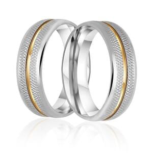 Alianças Namoro Aço Recartilhada 6mm com 1 fios de Ouro 18k