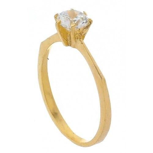 Anel Solitário Pedra de 6 MM, Folheado a Ouro 18k