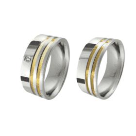 Alianças de Namoro em Aço Cirúrgico Reta 2 Filetes de Ouro Lateral - 7mm