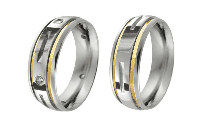 Alianças de Namoro Fresada 8mm 2 Fios Ouro 18 e 5 Pedras
