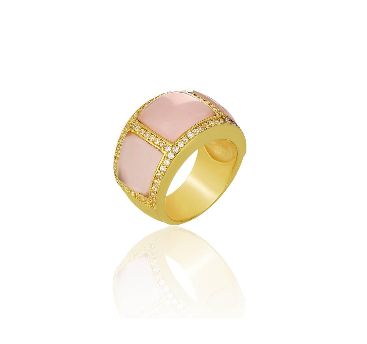 Anel Folheado a Ouro 18k borda cravejada c/pedra rose