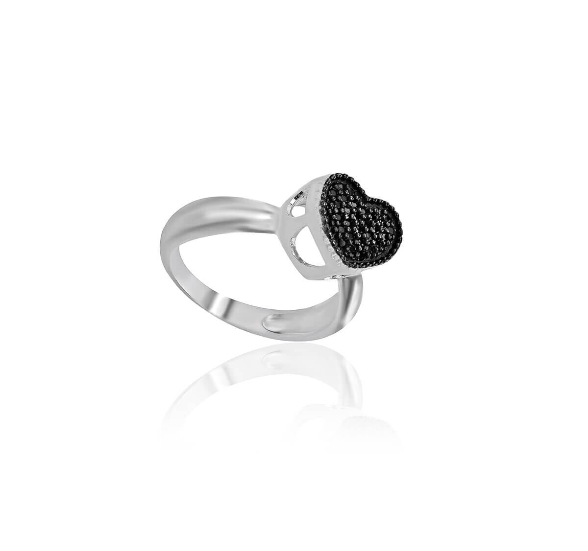 anel prata cravejado coração negro