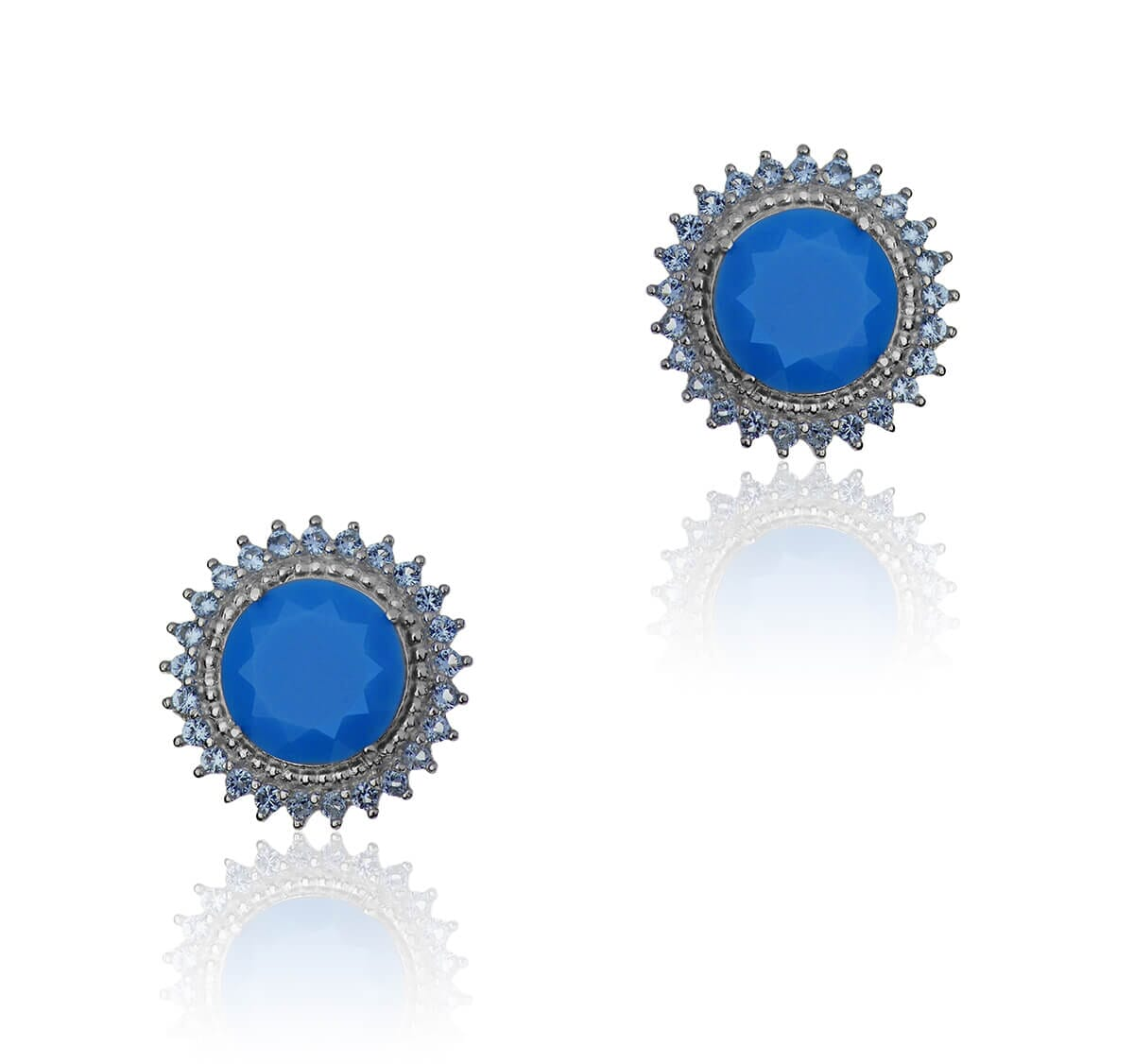 Brinco redondo Folheado a Ouro 18k cravejado com pedra turquesa e zircônias azul claro