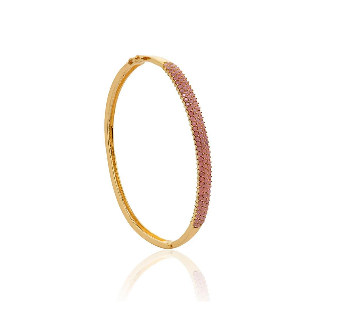 Bracelete Folheado Ouro Cravejado Rosa com 3 fileiras