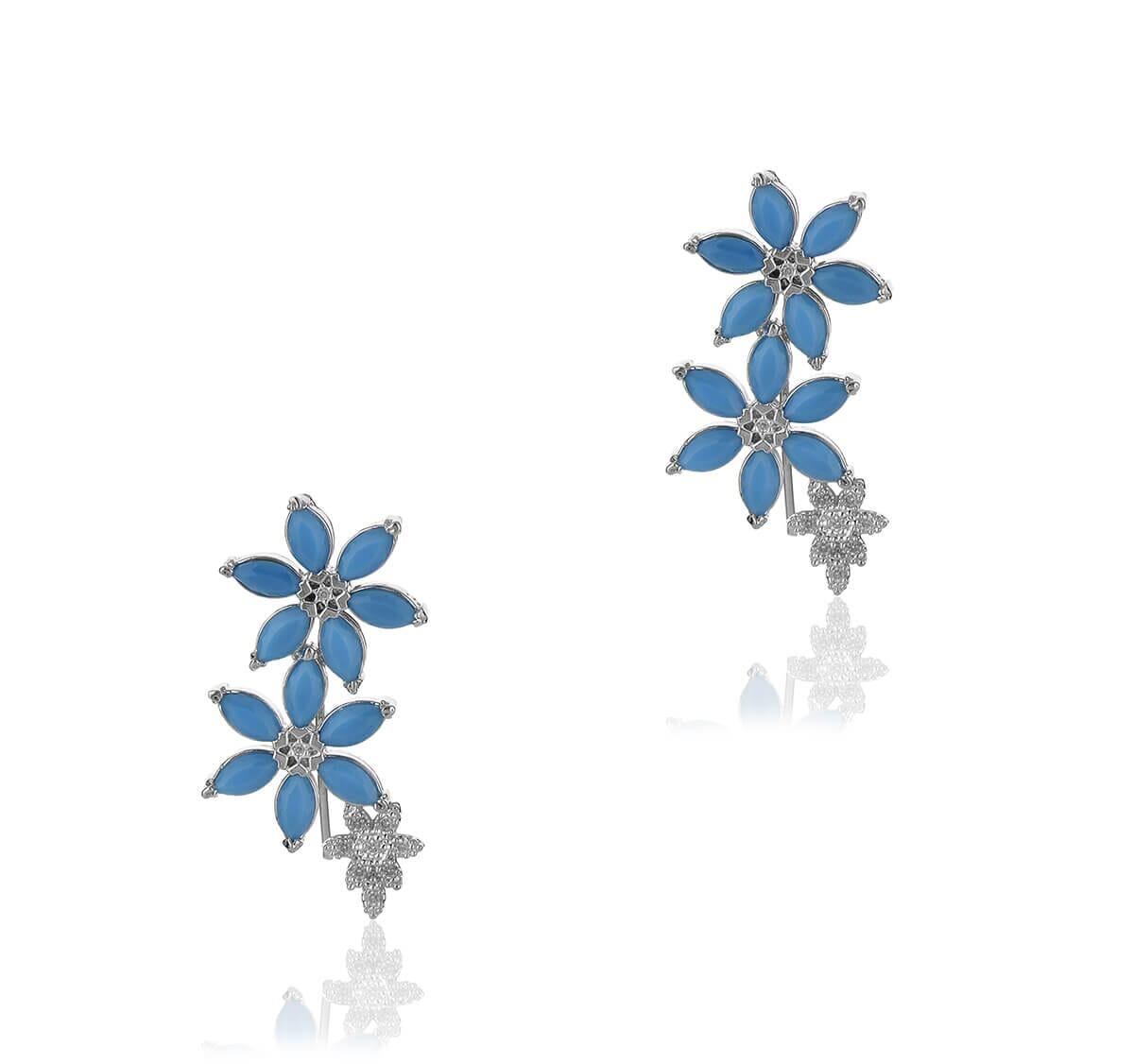 brinco ear cuff flor azul