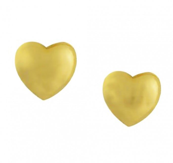 Brinco de Ouro 18K Coração 4mm