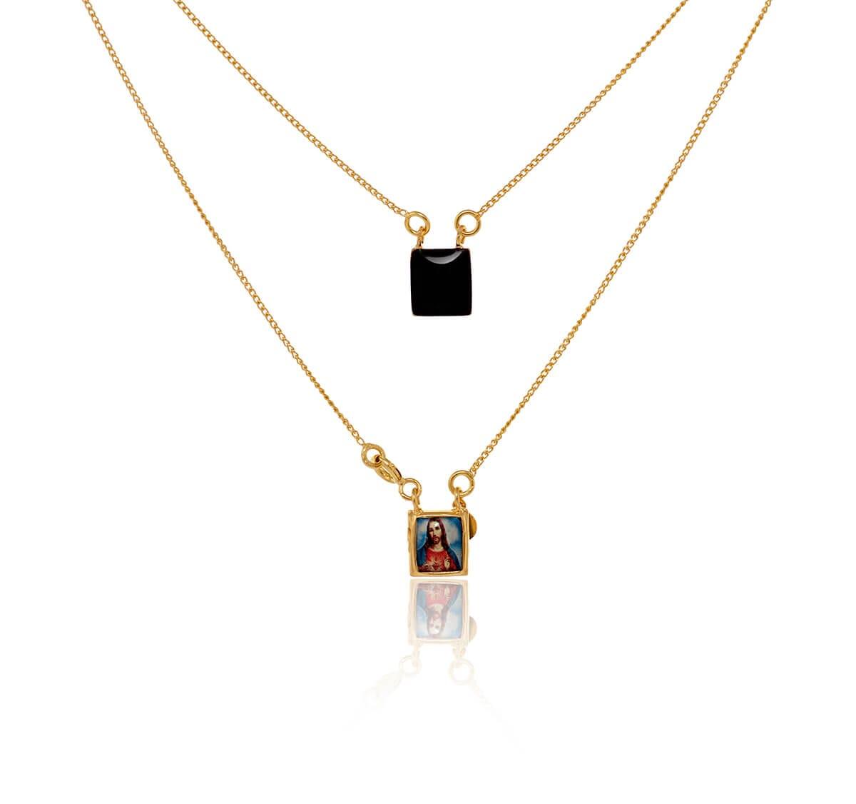 Escapulário folheado a ouro com imagem em resina colorida 45cm 60046-1-B