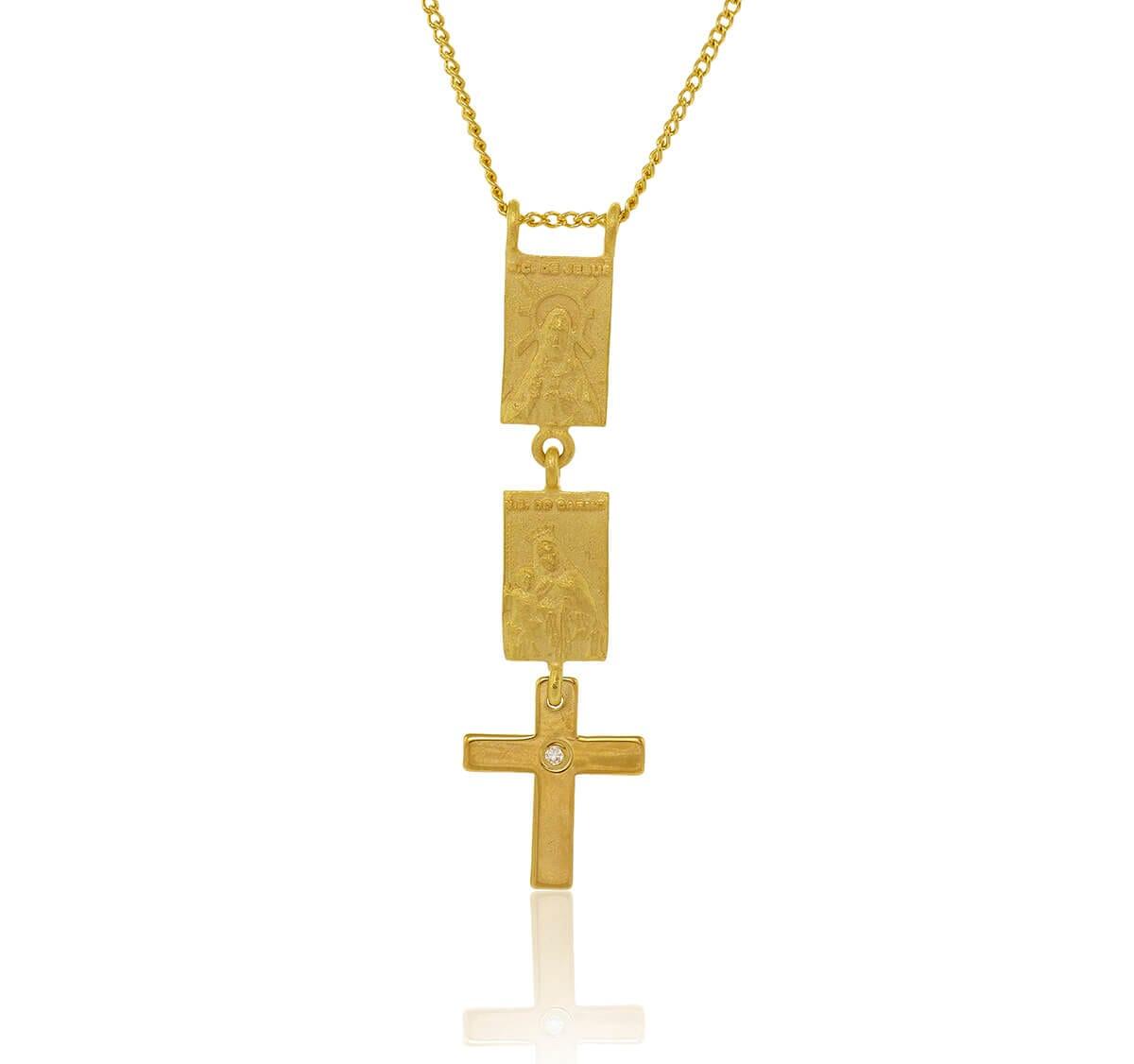 Escapulário Folheado a Ouro platinado com cruz e imagem