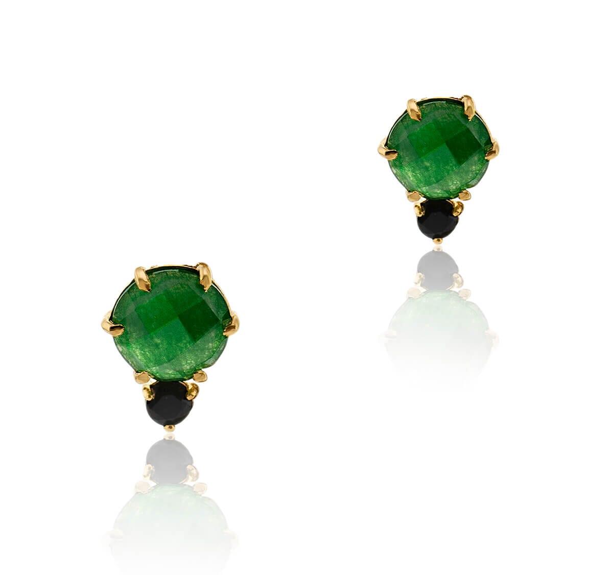 Brinco Folheado a Ouro 18k c/ pedra redonda de zircônia verde e preta