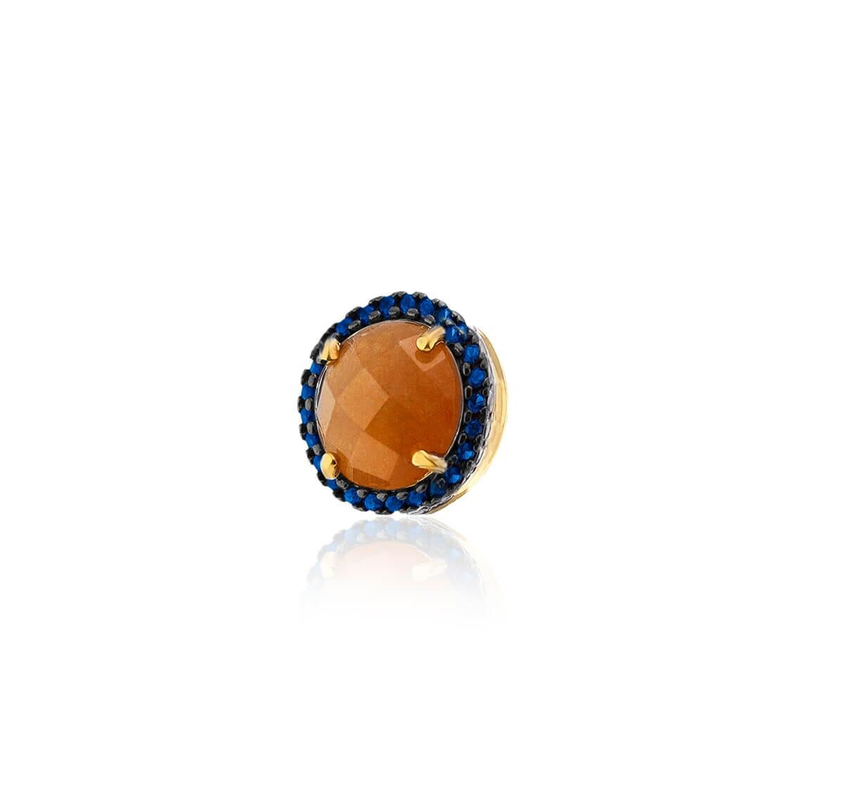 Pingente Folheado a Ouro 18k com pedra hambúrguer cravejado com zircônia azul