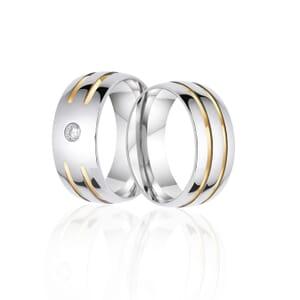Alianças de Namoro em Aço Abaulada 8 mm com 2 filetes Interrompidos de Ouro