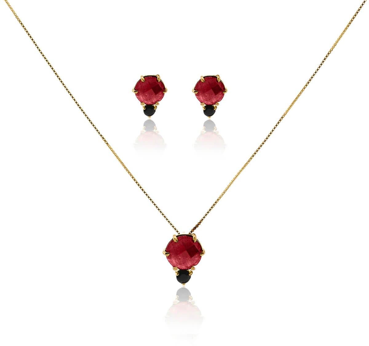 Conjunto Gargantilha e Brinco Folheado a Ouro 18k c/ Pedra Jade Vermelha