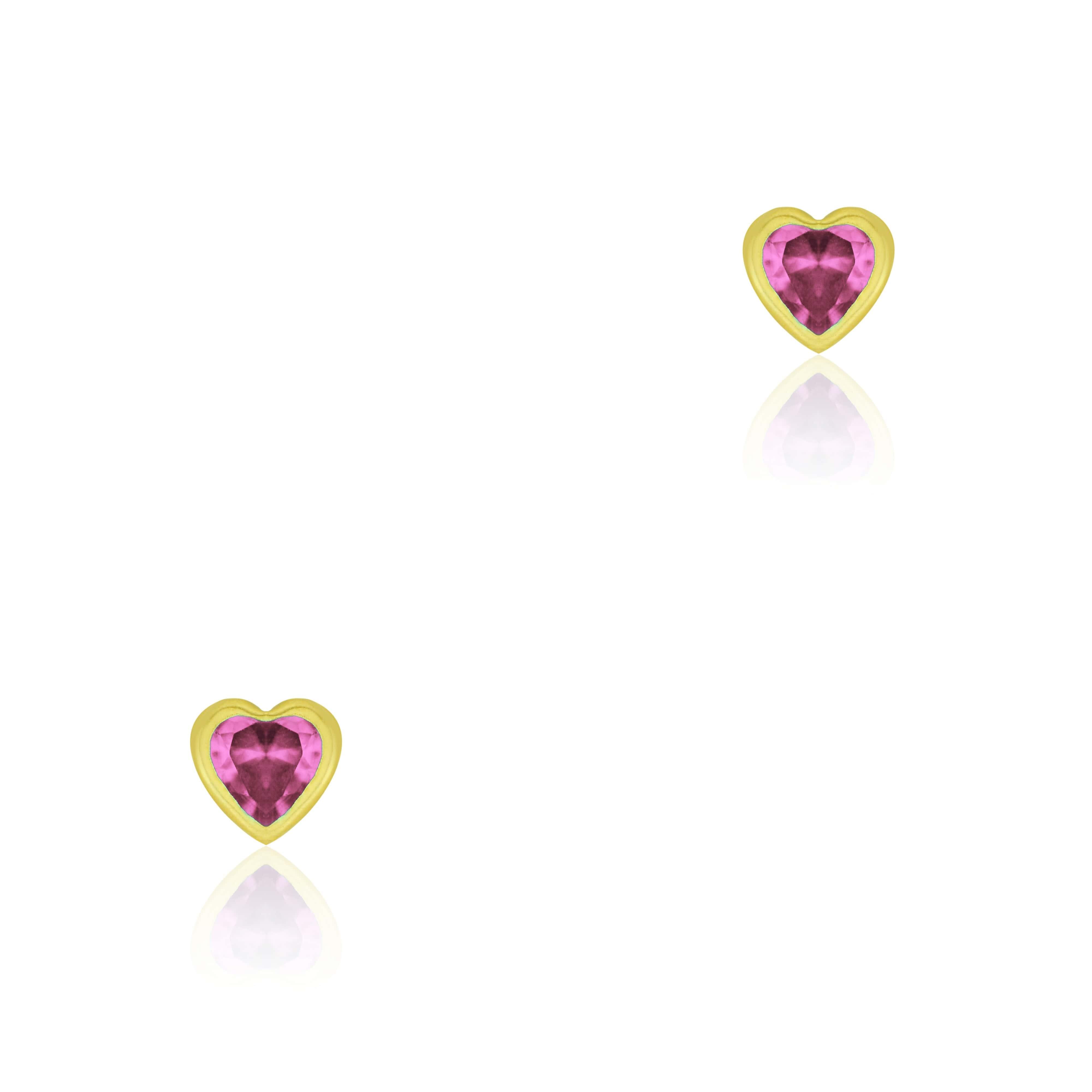 Brinco de Ouro 10k Bebê Pedra Coração Pink 4mm