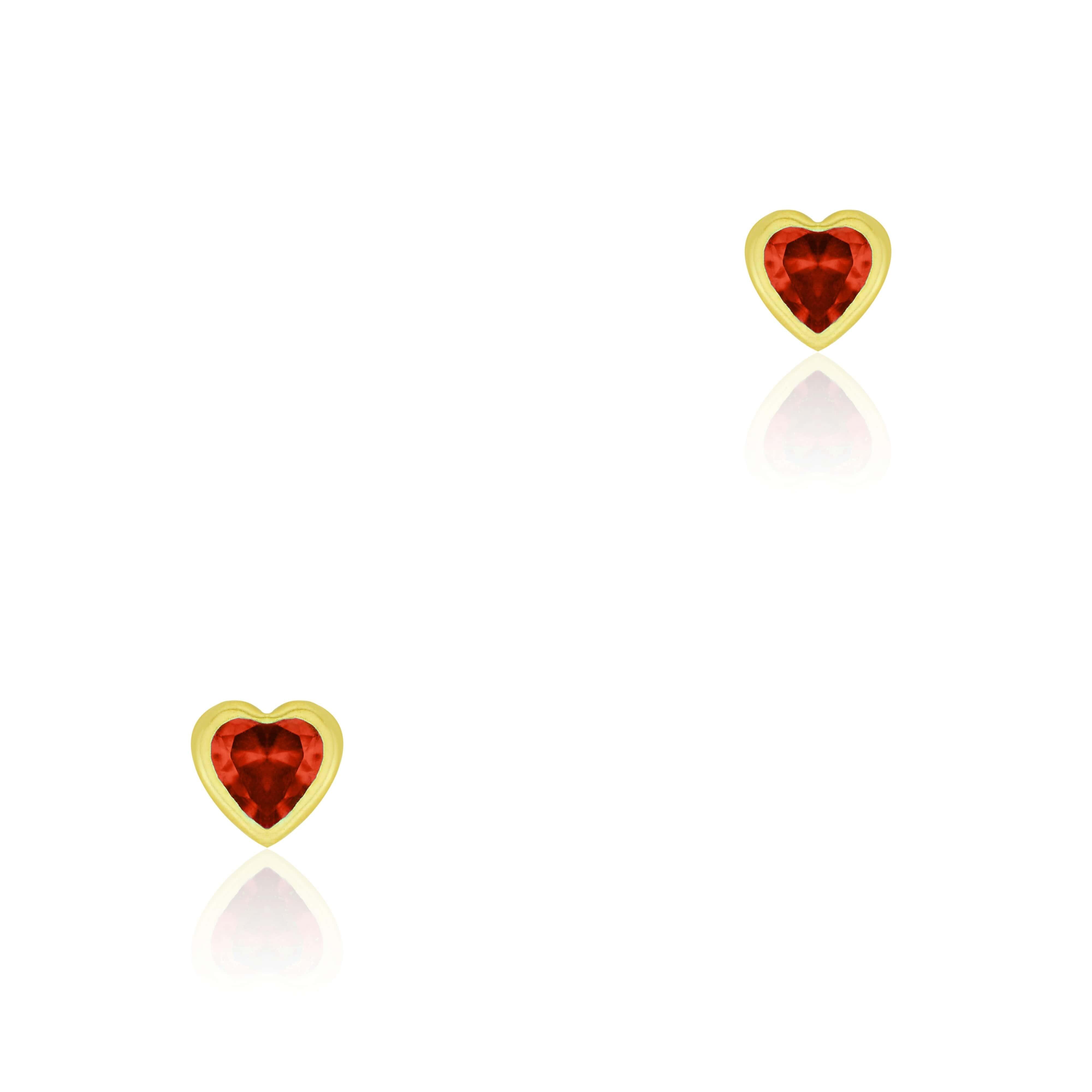Brinco de Ouro 10k Bebê Pedra Coração Vermelho 4mm