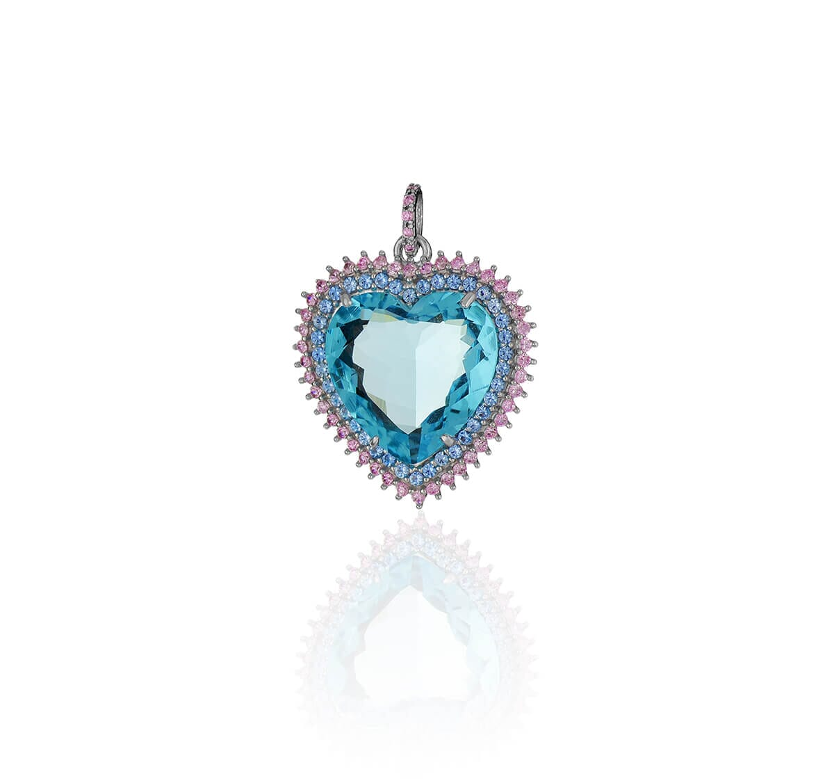 Pingente de Prata de coração com pedra topázio cravejado com zircônia azul e rosa