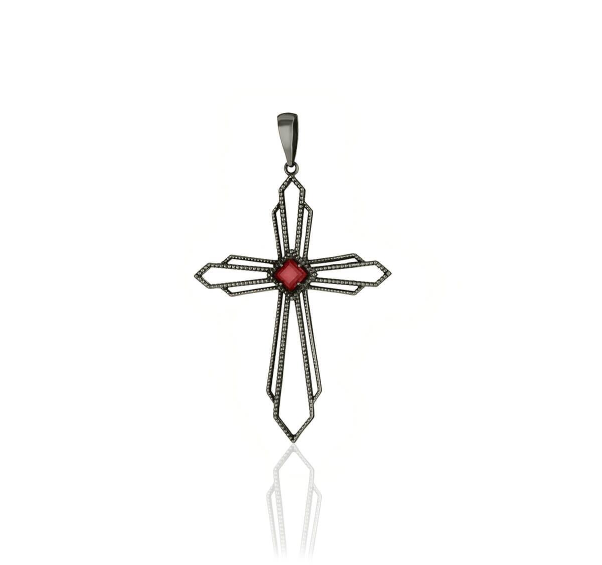 Pingente Cruz de Prata envelhecida com pedra vermelha