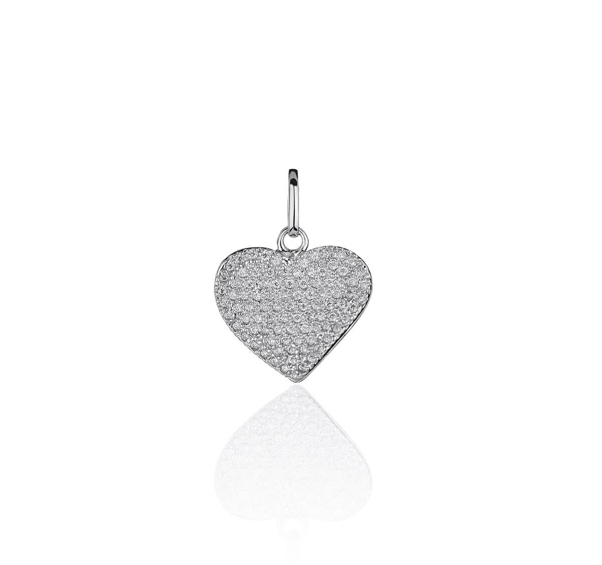Pingente Prata de coração cravejado com zircônias brancas