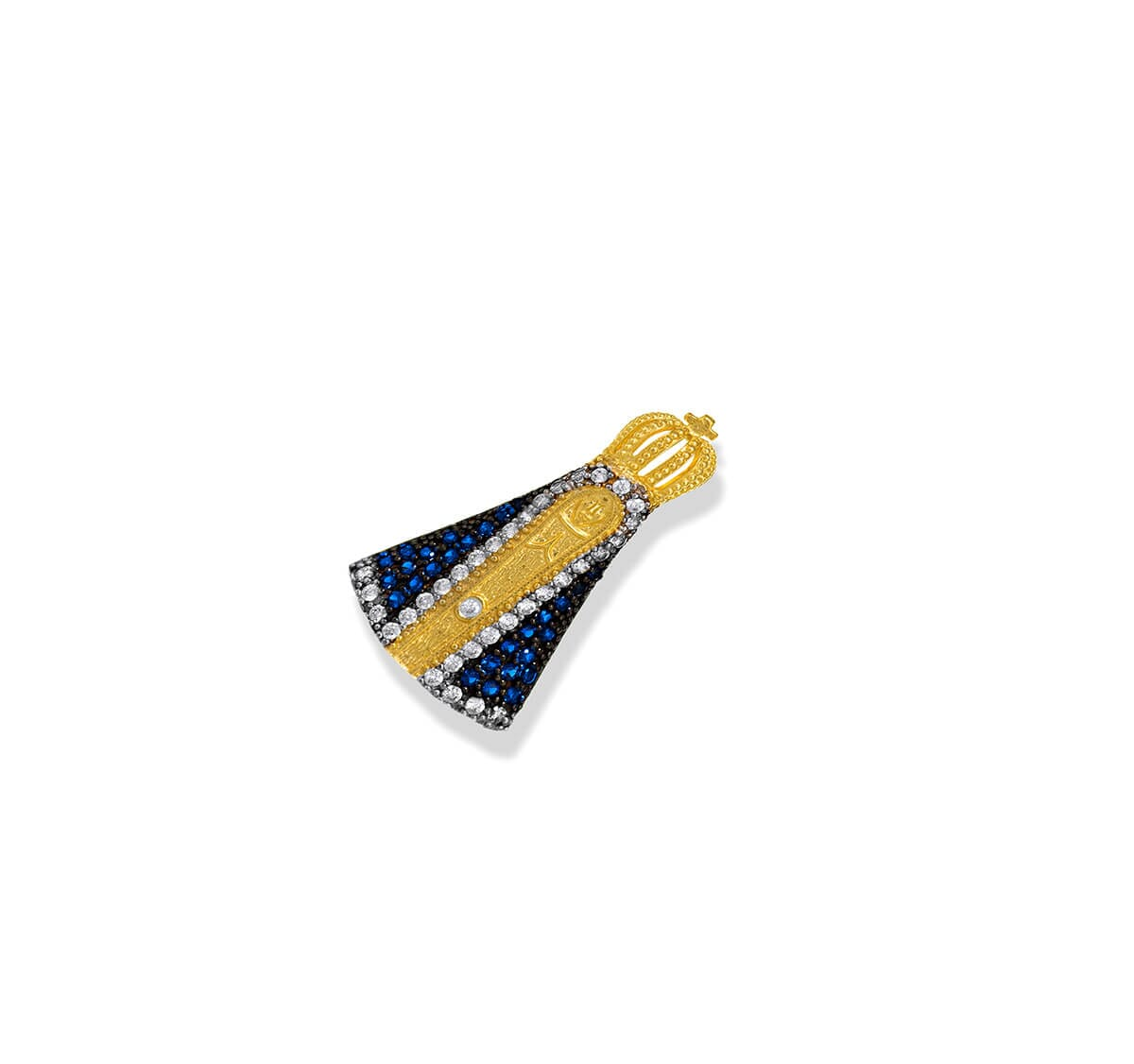 Pingente Folheado Nossa Senhora com manto azul 35 zircônias