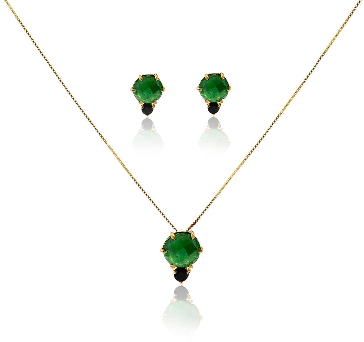 Conjunto Gargantilha e Brinco Folheado a Ouro 18k c/ Pedra Jade verde