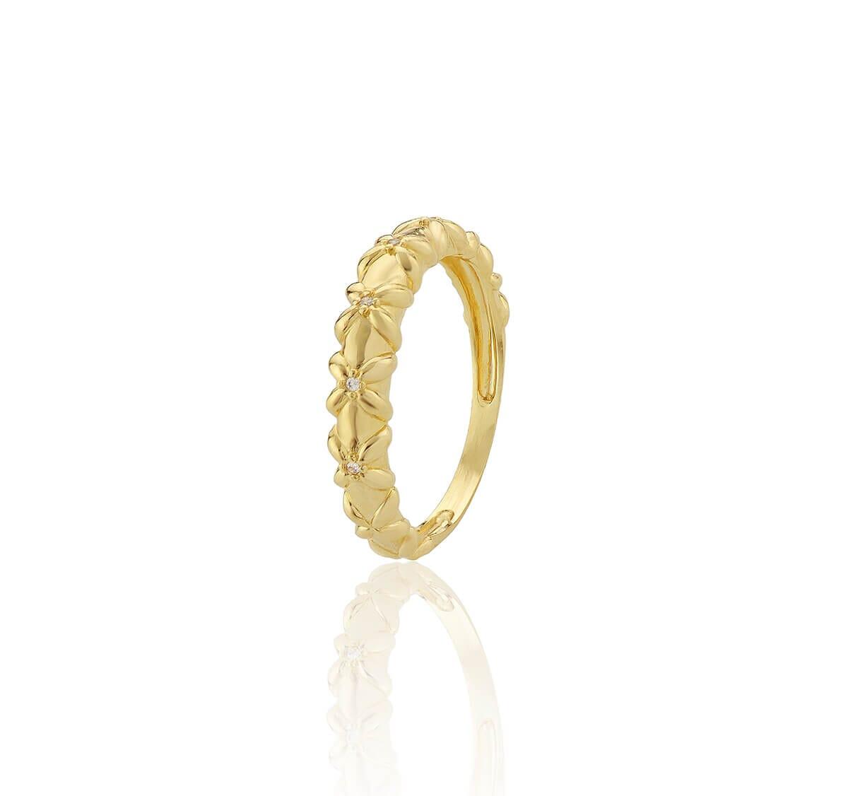 Anel Floral Folheado a Ouro 18k cravejado com zircônias