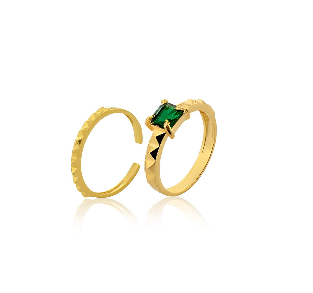 Anel Folheado a Ouro 18k c/ Pedra quadrada turmalina verde