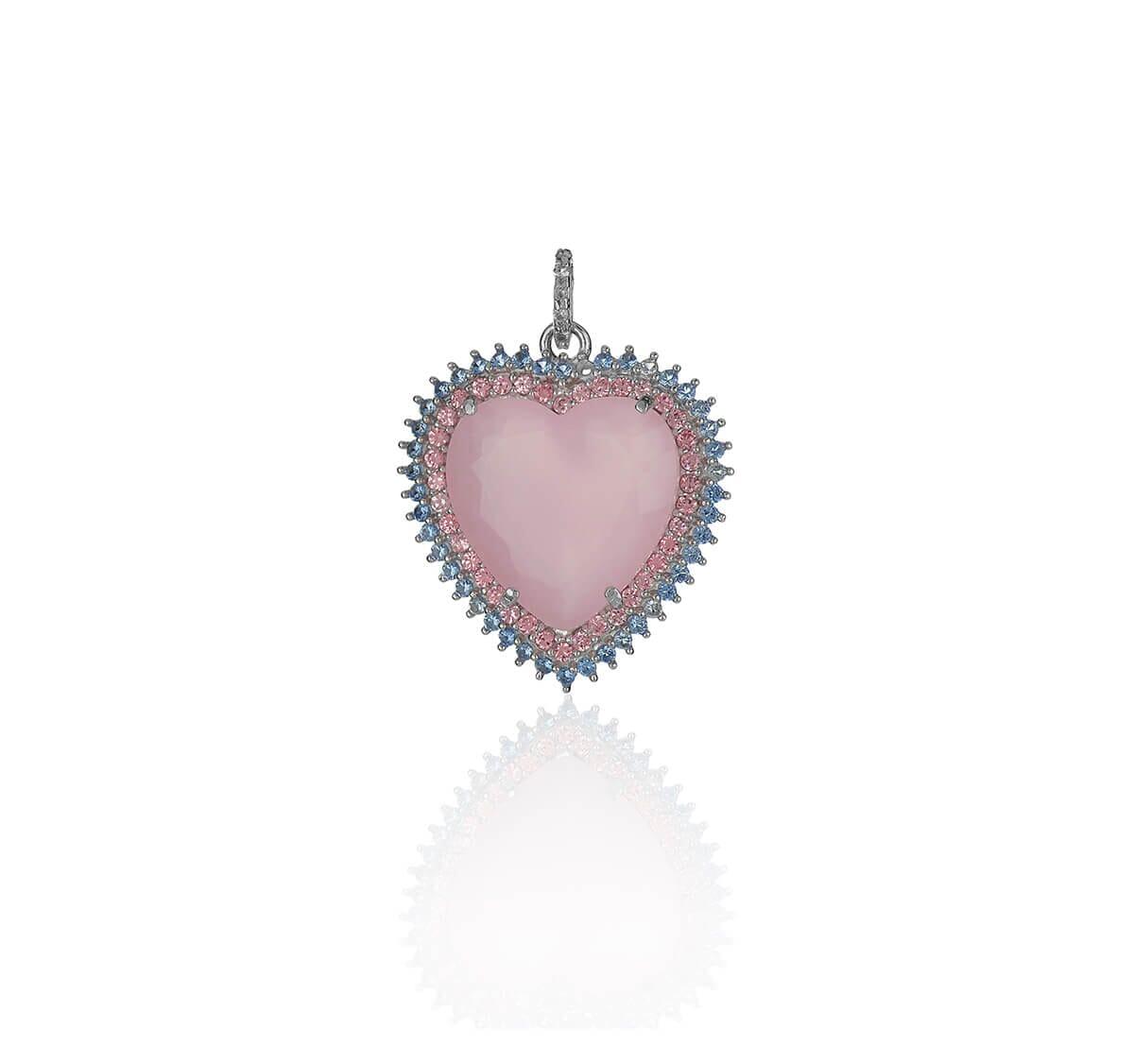 Pingente Prata de coração rosa cravejado com zircônia rosa e azul