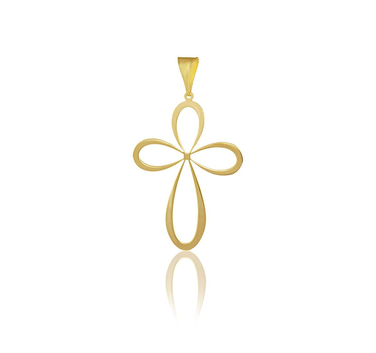 Pingente Cruz em flor banhado Ouro 18k