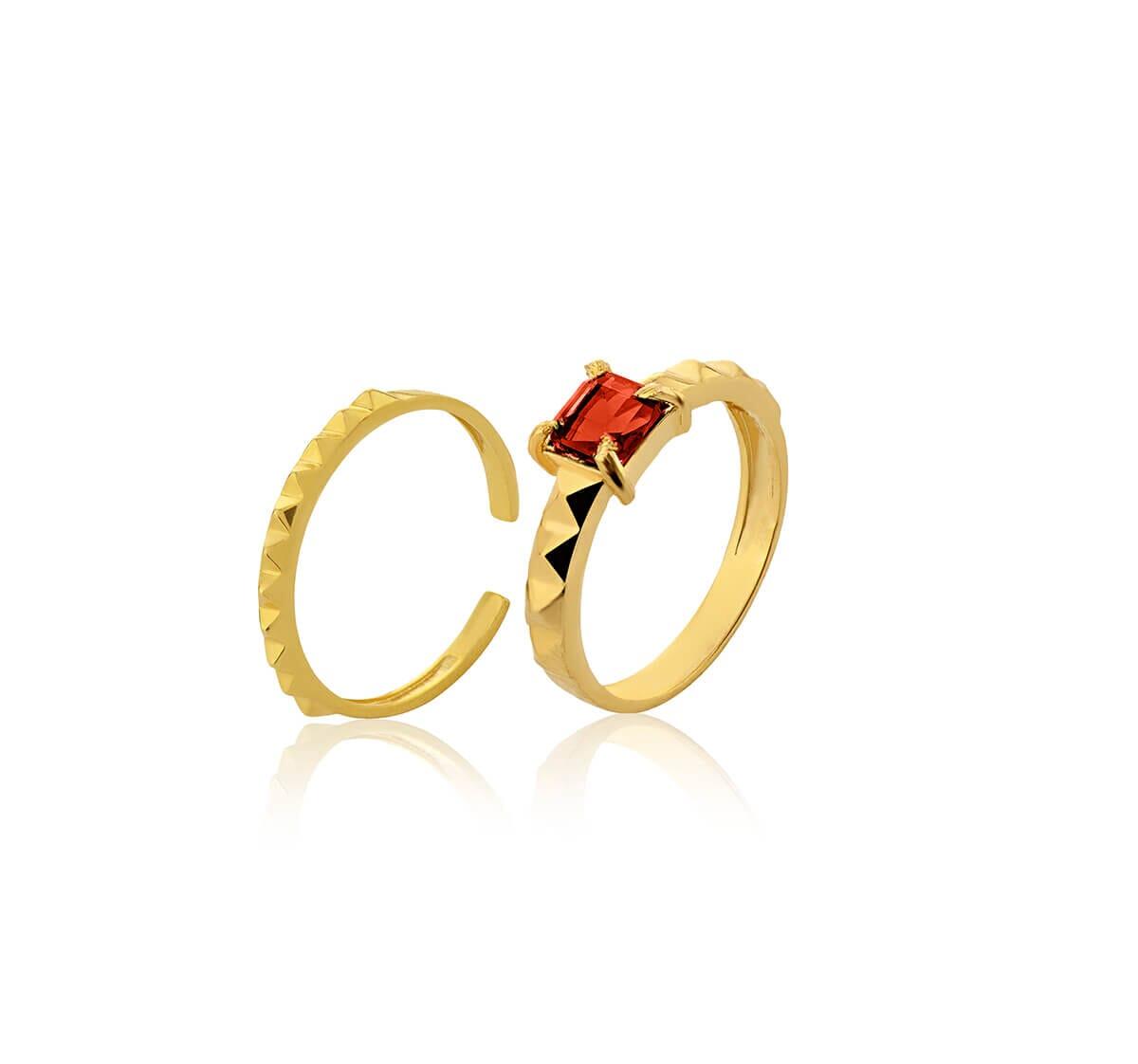 Anel Duplo Folheado 18k c/ Pedra quadrada rubi vermelha