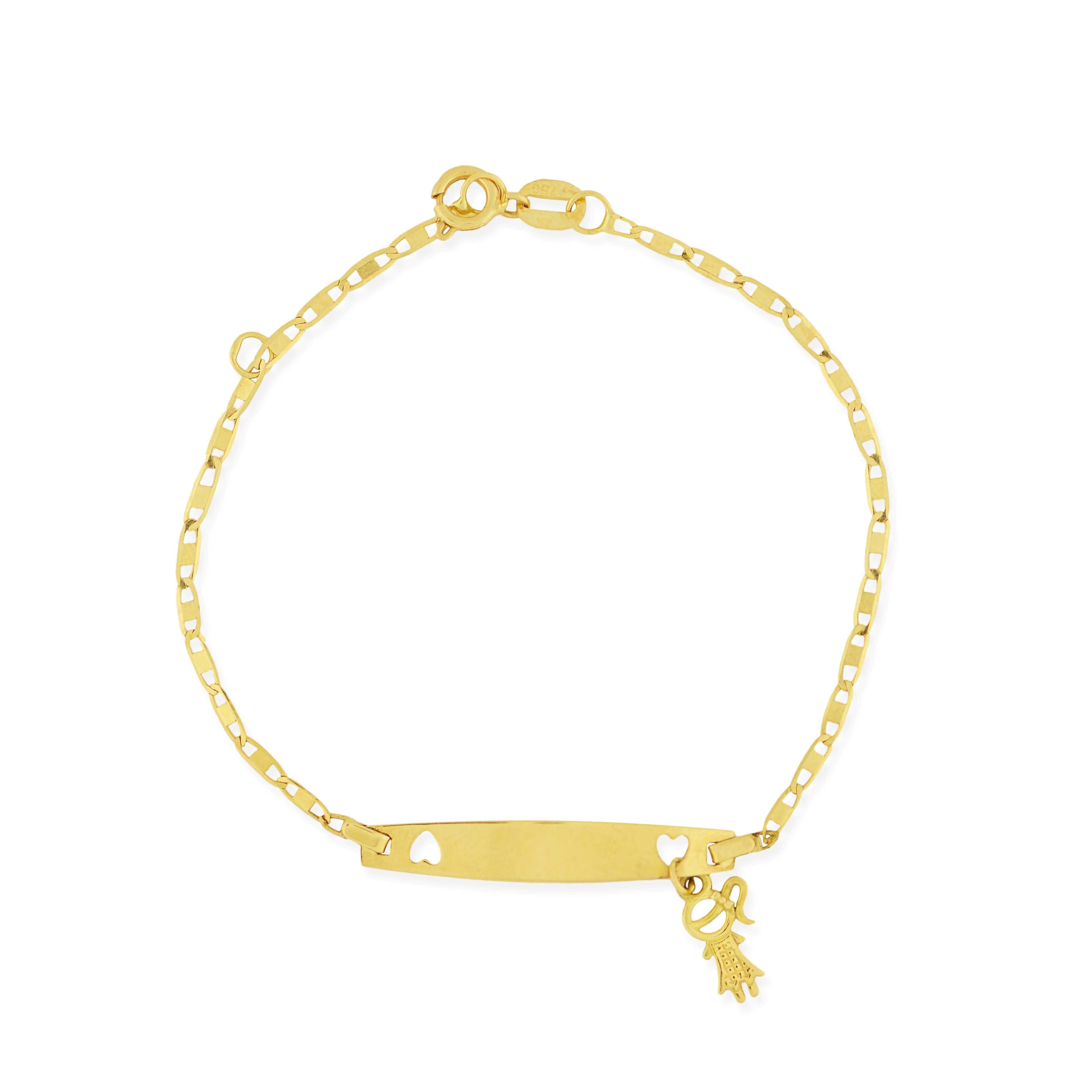 Pulseira Infantil Ouro 18k com pingente de menina de 13cm